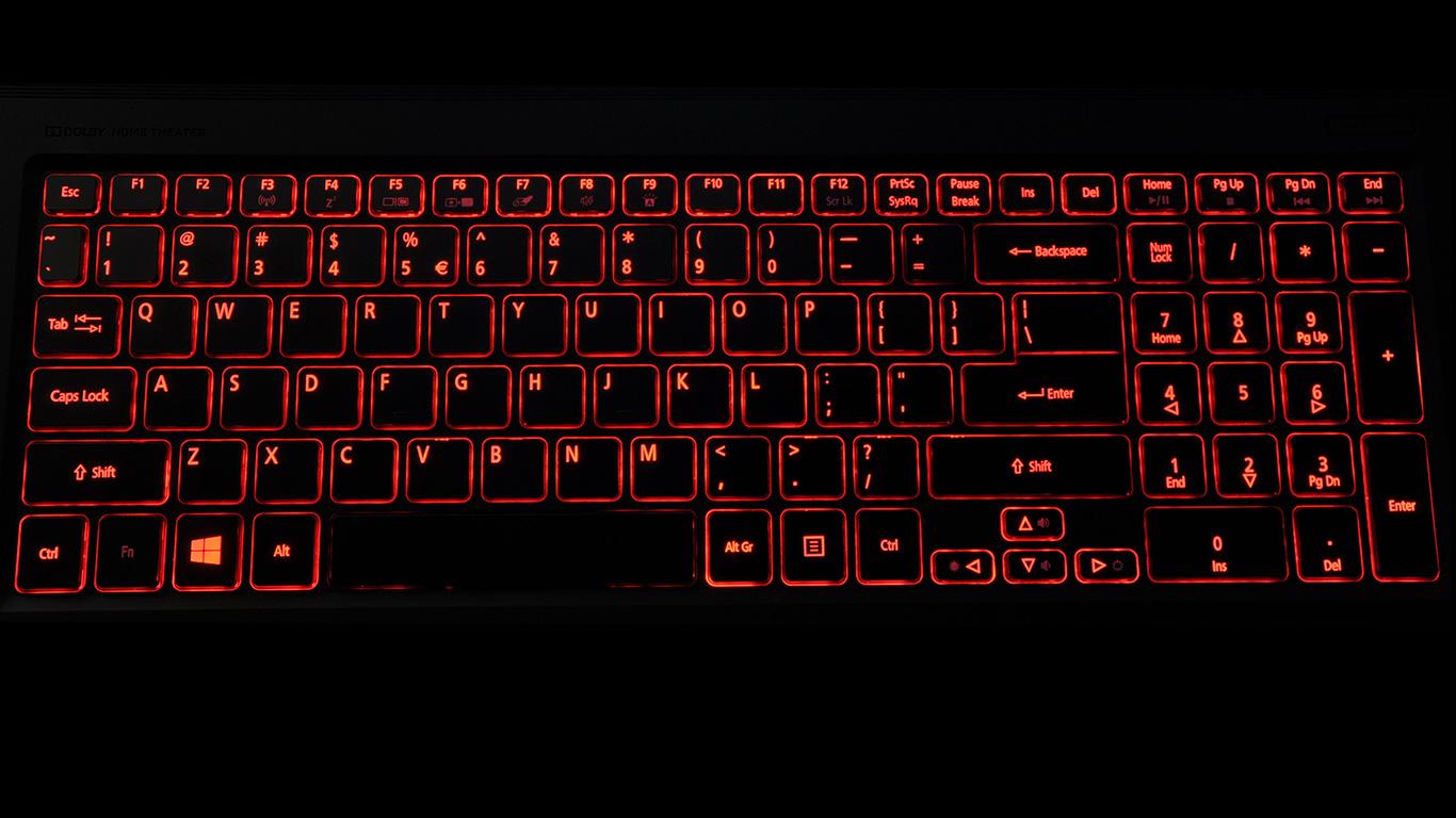 Czerwone podświetlenie klawiatury